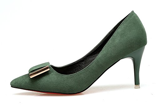 Aisun Damen Elegant Schleifen Metall Suede Low Cut Spitz Stiletto Pumps Grau 39 EU n1Bzp