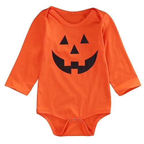 Notdark Halloween Outfits Baby Overalls Playsuit Schlafanzug Spielanzug Lange Ärmel Romper Jumpsuit (Schwarz,80)