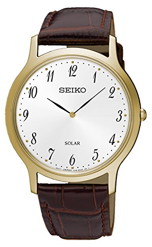 Seiko Herren Analog Solar Uhr mit Leder Armband SUP860P1 (Seiko Solar Herren-uhr)