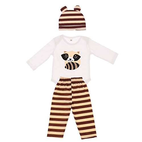 Netten Neugeborenen Jungen langarm Spielanzug Overall Outfits Baby Mädchen Dreiteiligen Anzug Hirsch - Panda, (Baby Anzug Panda)
