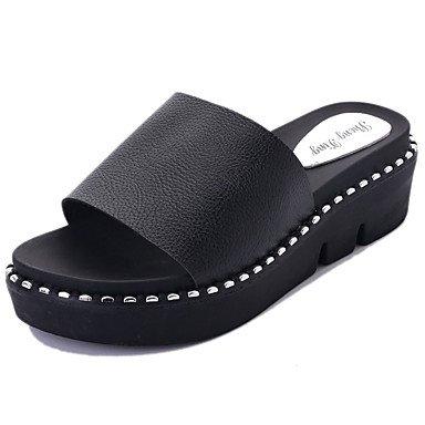 LvYuan Da donna Sandali PU (Poliuretano) Primavera Estate Piatto Bianco Nero 5 - 7 cm Black