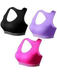 Match Mujer Sujetador Deportivo Racerback Con Relleno Sin Costura Sin Aros para Yoga Gimnasio Aptitud…