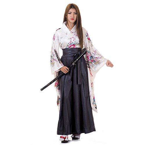 anisches Damen Samurai Kimono Outfit Cosplay Kostüm S M 36 38 40 (Weiß & Grau) ()