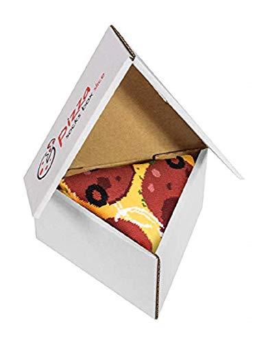 Pizza Socks Box Slice - Pepperoni - Damen Herren Pizza Socken 1 Paar - Größen EU 41-46