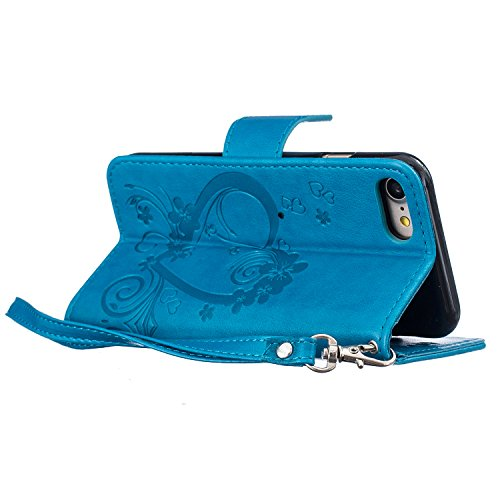 PU Flip Case Wallet Cover mit Strap Tasche Silikon Schutzhülle Handyhülle Painted pc case cover hülle Handy-Fall-Haut Shell Abdeckungen für Smartphone Apple iPhone 7 (4.7 Zoll) +Staubstecker (3SQ) 2