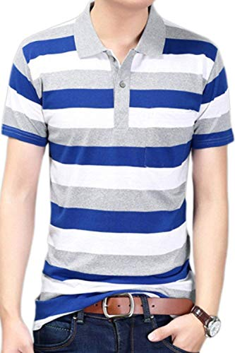Polo Shirt Mens Summer Stripes Lapel Short Sleeve Polo Shirts Young Fashion  with Button Leisure Basic 8a66fbe039b76