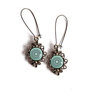 Boucles d'oreilles cabochon pendantes, Cabochon esprit Maroc, Bleu tendre, bleu turquoise