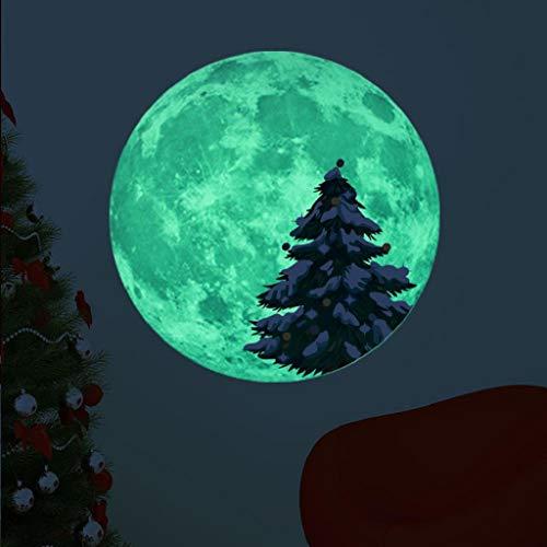 Wandtattoo Weihnachten Leuchtaufkleber Mond Leuchtsticker Fluoreszierende Aufkleber 30x30cm 3D Wandsticker Wanddeko Wandaufkleber Wand Dekoration Wohnzimmer Hausdekoration Kinderzimmer Rovinci