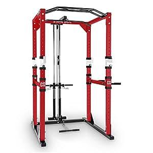 Capital Sports Tremendour • Power Rack • Cage Squat • Station de Musculation • 2 x Safety Spotter: 20 hauteurs • 4 x J-Hooks • Barre de Traction multiprise • Construction Massive en Acier • Rouge