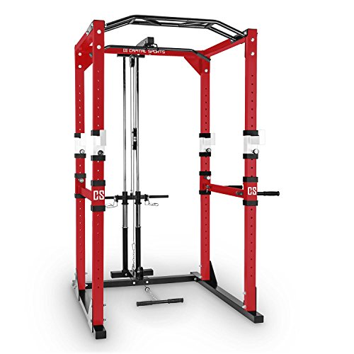 Capital Sports Tremendour Power Rack - Power Cage, Kraftstation, mit Latzugturm, 2 x Safety Spotter, 4 x J-Hooks, Klimmzugstange, Dipstangen, Stahlrohrrahmen, rot
