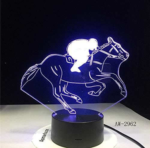 Universal-tisch-basen (Nachtlicht 3D Pferderennen Modell 3D Nachtlicht Usb Neuheit Geschenke 7 Farben Ändern Led Schreibtisch Tisch Touch Base Lampe Kinder Geschenk)