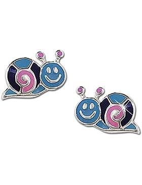CLEVER SCHMUCK Silberne kleine Ohrstecker Mini Schnecke 9 x 5 mm rosa lila hellblau lackiert glänzend STERLING...