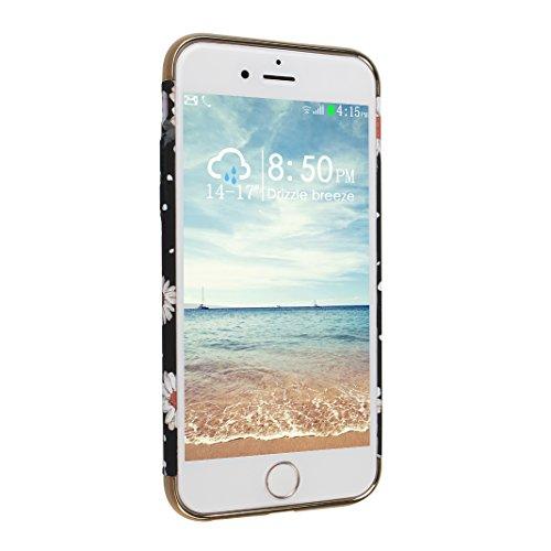 Cover Pour iPhone 6 6S, Asnlove PC Hard Dur Case Lumineux Housse Brille dans l'obscurité Ultra Mince Coque Rigide Étui Joli Cas Pour iPhone 6/6S - Rose Fleur-2 Chrysanthème-2