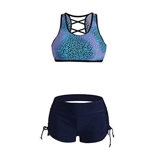 Lover-Beauty Damen Sport Push up Bikini Sets hohe taille Badeanzug Bademode (Jakobsmuschel Badeanzug)