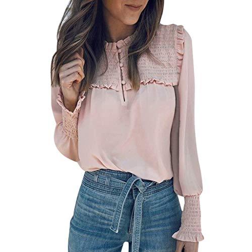 Plissee-rüsche Shirt (Damen Tops Für Damen Somerl Damen Pullover Rüschen Lässige Plissee Lose Plus Size Bluse Tops for Women(Rosa,M))