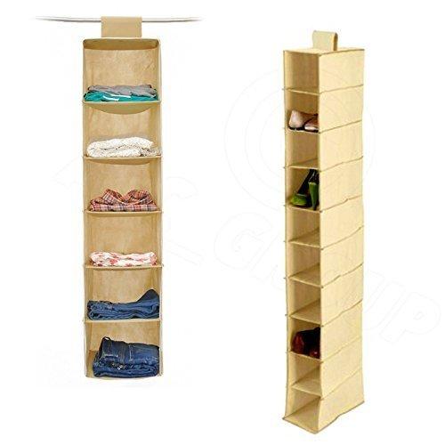 ASC Armario / armario Organizador Pack Doble 6 Secciones Para La Ropa & 10 Sección Para Zapatos / Calzado Colgante Organizadores