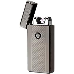 Mechero electrico, AKUNSZ USB Encendedor Doble Arco Eléctricos ( Más Avanzado ) Carga Rápida de 1.5 horas Resistente al Viento Sin Llama USB Recargable Lighter [ Cable USB y Caja de Regalo Incluidos ]