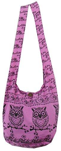 Umhängetasche von NaLuck mit Eulenmotiv, im Boho-Stil, Pink - rose - Größe: Medium (Purse Bag Beach)
