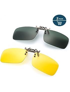 2 Pares Gafa de Sol Polarizada con Clip de - Gafas Nocturnas Conducción/Golf/ y Mucho Más Deportes Exteriores,...