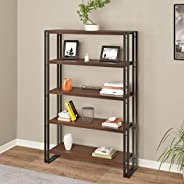 DecorNation Wooden and Metal Book Shelf - Indsutrial Rustic 5 Tier Shelf with Iron Leg for Office, Study Room