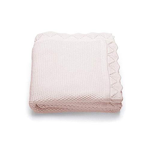 Odot coperta bimbo in maglia per bambino, soffice dormire di coperta unisex neonato morbida coperta swaddle perfetta per culla, carrozzina, lettino (80x100cm,rosa scuro)