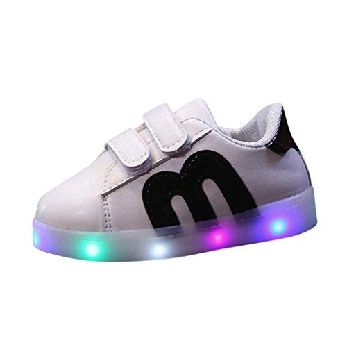 FNKDOR Kinder Baby Schuhe LED Licht Leuchten Leuchtende 20-29 Turnschuhe Sneaker (21 EU(22CN) 13.5CM,Schwarz)