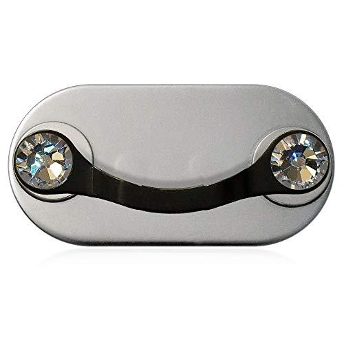 MAG-B soporte magnético para gafas (acero inoxidable negro con cristales originales de Swarovski)