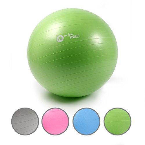 Apollo Gymnastikball 65cm, robuster Fitnessball und Sitzball Ink. Pumpe Rückenschonender Gymnastikball fürs Büro, Yoga, Pilates - Yoga-Ball fürs Workout - Farbe: Grün