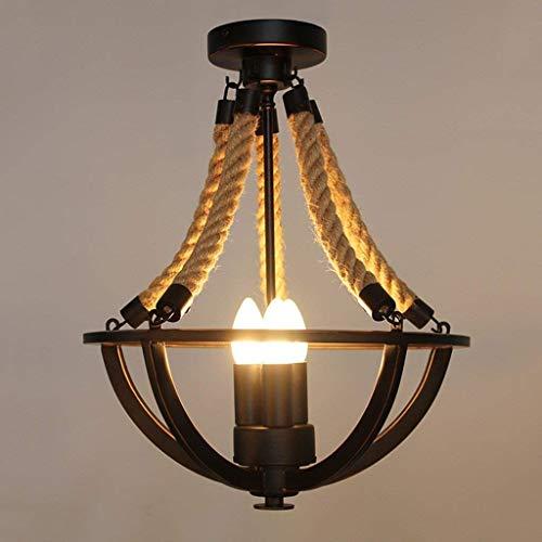 E-L Deckenleuchte Beleuchtung Rustikale Hanfseil Eisenkorb Halb Flush Mount Kronleuchter Schwarz Deckenleuchte mit Kerzenlampe Innenlicht -
