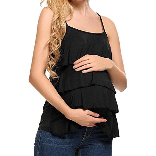premaman mamma - camicie e casacche da premaman elegante camisole  feixiang ® maglietta per l'allattamento camicia per maternità t-shirt maglia senza maniche camicetta vestiti (nero, m)