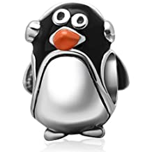 Lovely Pingüino colgantes plata de ley 925enamel Charm con auriculares pingüino Bead animales encanto