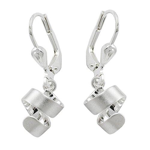 Mya Art 925 Silber Mädchen Damen Ohrhänger Ohrringe Spirale Schleife