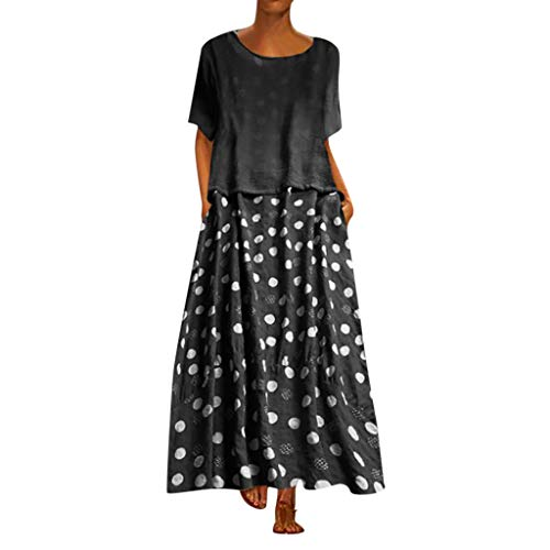 CUTUDE Damen Kleider Röcke Kurzarm Sommerkleider Frauen Punkt Druck Patchwork Rundhals Zweiteiliges Set Lose Maxi-Kleid (Schwarz, Large) (Mädchen Lila Kostüm Boa)