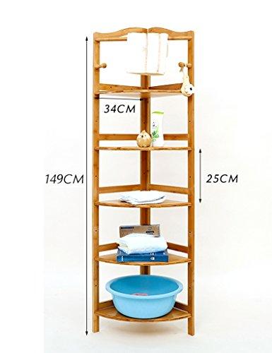 5 Tier-ecke Bücherregal (FXQ Büro-Bücherregale Mehrschichtiges Eckstand-Wohnzimmer-Standplatz-Ecken-Rahmen-Speicher-Regal-Badezimmer-Regal Laminates Höhe Justierbar ( Farbe : 5-Tier ))