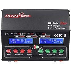 73JohnPol Ultra Power UP120AC Duo Equilibrio del Cargador 110V / 220V para el descargador del Cargador Lilo/LiPo/Life/LiHV/Nicd/Nimh para RC Drone (Color: Negro)