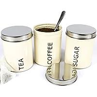 Get Goods-Set di 3 barattoli per tè, caffè, zucchero, a chiusura ermetica, 800 ml, acciaio inox e smalto &-Contenitori da cucina crema