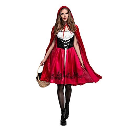 Provide The Best Erwachsene Person Frauen Rot Halloween-Kleid mit Kapuze Robe Karneval Märchen Cosplay (31 Beste Halloween-kostüme)