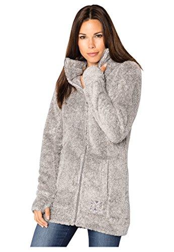 Sublevel Damen Teddy-Fleece Mantel | Kuscheliger Langer Fleecemantel mit hohem Kragen Light-Grey M
