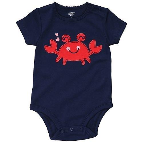 Carter's Body für Mädchen Sommer Spieler Unterwäsche girl onesie (newborn, dunkelblau/rot) (Carters Body Onesies)