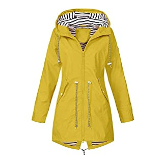 iHENGH Damen Herbst Winter Bequem Mantel Lässig Mode Jacke Frauen Herbst Langarm Mantel Fleece reißverschluss fliegen mit Kapuze einfarbig Sweatshirts(Gelb, 3XL)