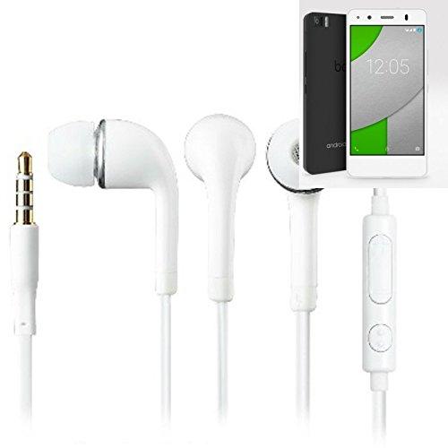 In Ear headphones para BQ Aquaris A4.5, con micrófono + control de volumen, blanco | 3.5mm auriculares micrófono omnidireccional, Studs auriculares auriculares estéreo sonido grave universal de control de volumen de los auriculares aplicación
