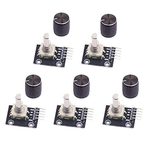 WayinTop 5 Stück Rotary Encoder Modul KY-040 360 Grad Drehgeber Drehwinkelgeber mit Druckknopf für Arduino Encoder-modul