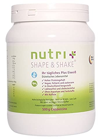 Nutri-Plus Shape & Shake Vegan Cappuccino 500g - With caffeine - Without aspartame, lactose, cholesterol and lactoprotein