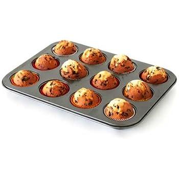 axentia Muffinbackform in Schwarz, Backblech für 12 Muffins, Muffinform mit Antihaftbeschichtung, Backform passend für jeden Backofen, Formgröße Ø ca: 7,5 cm, Höhe 3 cm