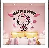 Animal de bande dessinée pensif fort chat 3d stickers muraux décoration de la maison cadeau auto-adhésif A-rose 180x108cm