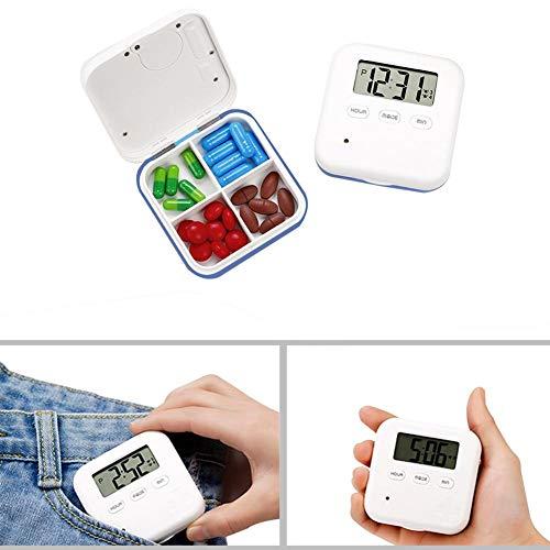 Smart Electronic Pill Box Automatischer Pillenspender Täglicher Medikationsorganisator mit Alarmerinnerung und 4 Fächern -