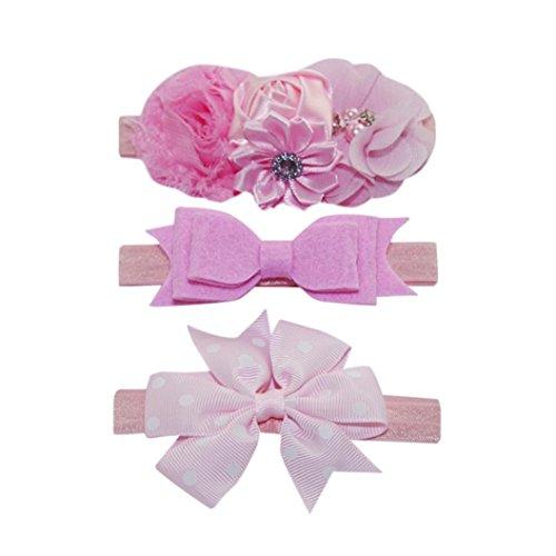 Evansamp 3Haarband für Kinder Mädchen Baby Elastisch Floral Kopfband Haar Polka Dot Schleife Haarband Fotografie-Set Deko, h, 0 to 2 years Old