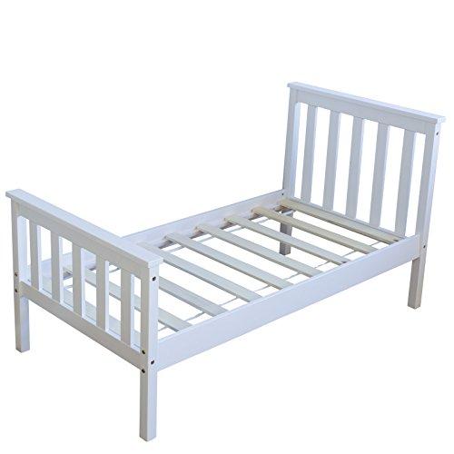 Homestyle4u 1417 Holzbett Kiefer massiv , Einzelbett aus Bettgestell mit Lattenrost , 70x140 cm , Weiß