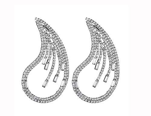Ohrringe, Damen übertrieben Acryl Diamanten dot geometrische Ohrringe voller böhmischen Ohrringe Temperament Büro Freizeit Reisen Hochzeit Urlaub Geschenk Ohrschmuck (Color : Silver)