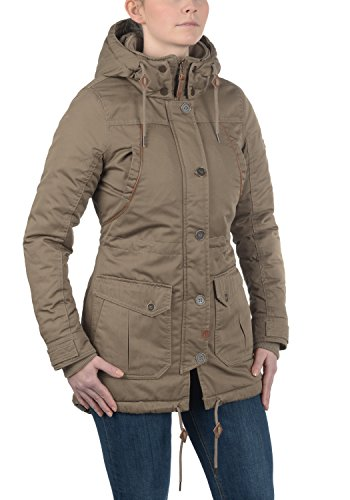 DESIRES Annabelle Damen Übergangsparka Parka Übergangsjacke Lange Jacke mit Kapuze, Größe:XS, Farbe:Shitake Br (5323) - 2
